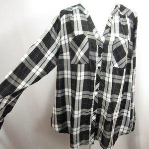 Torrid Black White Plaid Button Front Shirt Top 3X